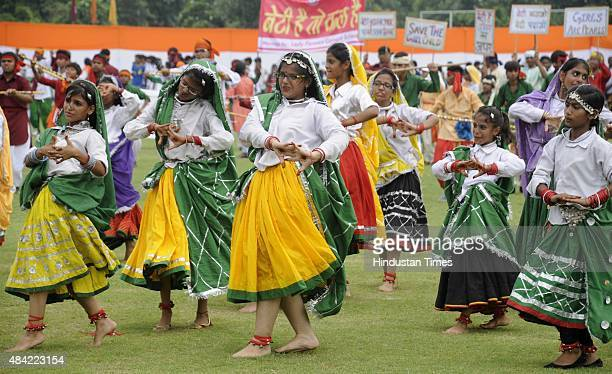 Students perform dance on the occasion of Independence Day at Tau Devi Lal stadium on August 15 2015 in Gurgaon India Around 40000 security personnel...