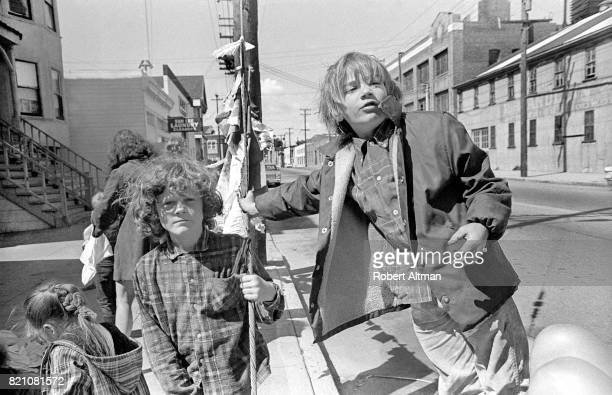 Students pose for a portrait as the stand outside of Hearthshire School circa April 1969 in San Francisco California