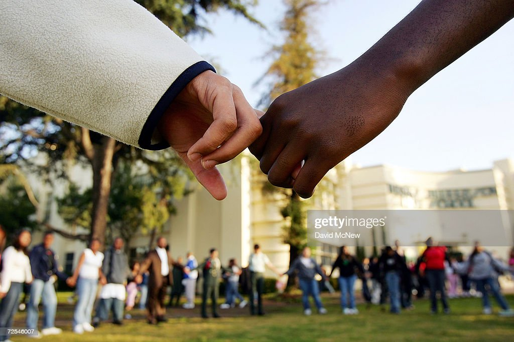 Students pray in the aftermath of two apparent racially motivated student brawls at Thomas Jefferson High School April 21 2005 in Los Angeles...