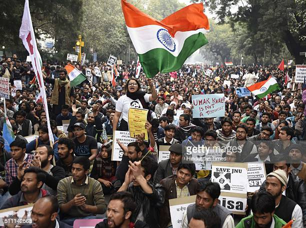 JNU students professors and CPI party members protest march from Mandi House to Jantar Mantar for the release of JNUSU President Kanhaiya Kumar on...