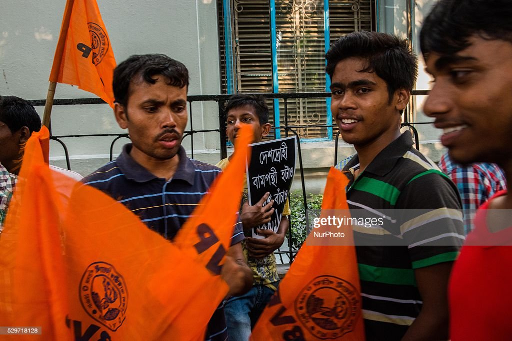 Students protest against left parties and alleged antinationalist students in Kolkata India Monday May 9 2016