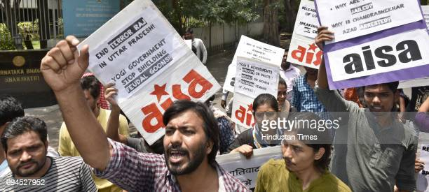AISA students protest against Terror Raj in UP as 14 students in Lucknow were arrested and sent to judicial remand criminal cases filed against them...