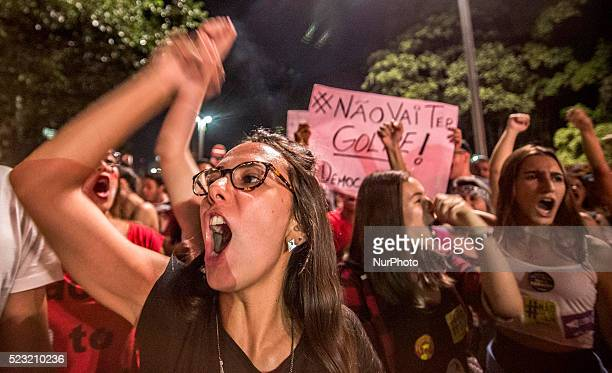 Students protest against the impeachment process against Brazilian President Dilma Rousseff at Paulista Avenue on April 21 2016 in Sao Paulo Brazil...