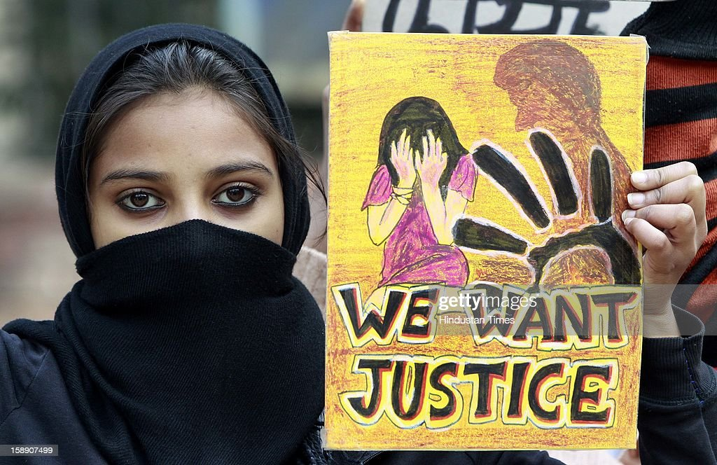 Student's protest and observing 'Black Day' at Jantar Mantar to seek justice for the Delhi gang rape victim on January 3, 2013 in New Delhi, India.