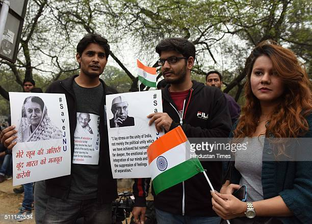 JNU students protest before going to Jantar Mantar for the release of JNUSU President Kanhaiya Kumar on February 18 2016 in New Delhi India The...