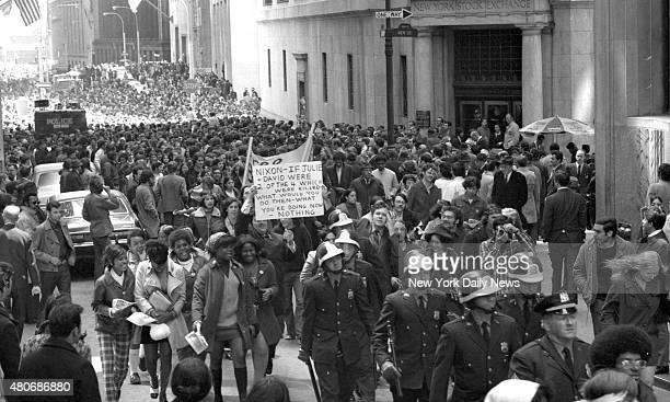 Students protest Demonstrator fill street outside Stock Exchange during protest against war and Kent State killings