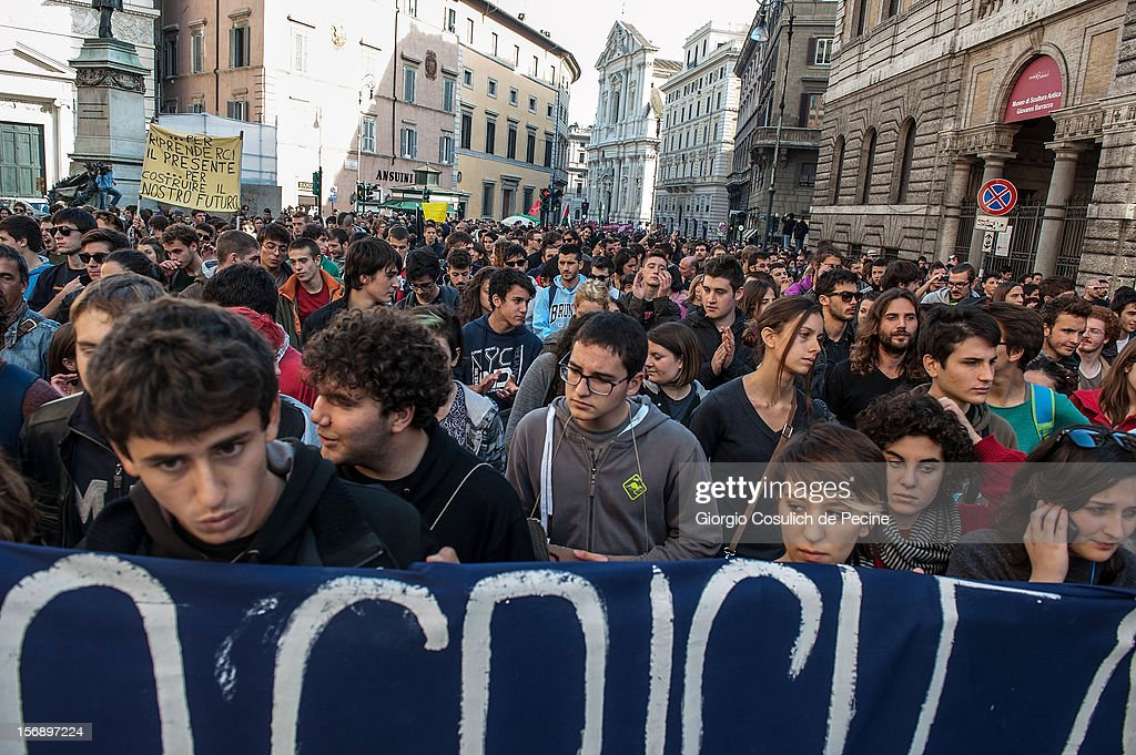 Students protest during a national general strike against the austerity policy in Europe on November 24, 2012 in Rome, Italy. Students in Italian cities protested against cuts to the education budget and school reforms in the first major student demonstrations since the beginning of the school year. Demonstrators across Italy have been protesting the austerity measures taken by their government in the wake of the Eurozone's financial crisis.