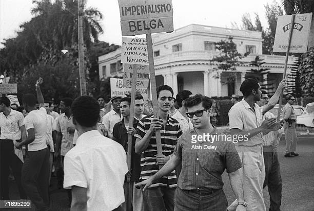 Students protest outside the Belgium Embassy in Havana following the assassination of Congo Prime Minister Patrice Emery Lumumba 19th April 1961