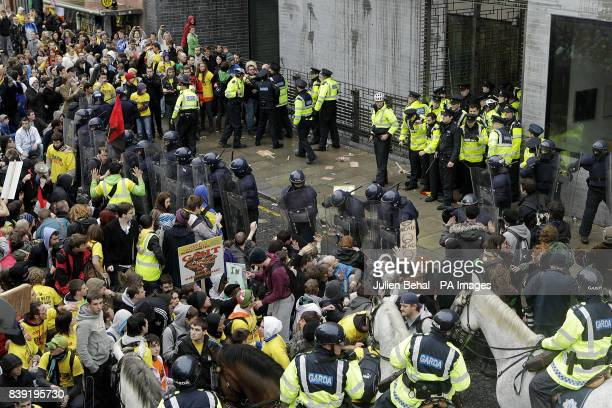 Students protesting against a increase in 3rd level fees face police as they hold a mass demonstration in Dublin city centre outside the Department...