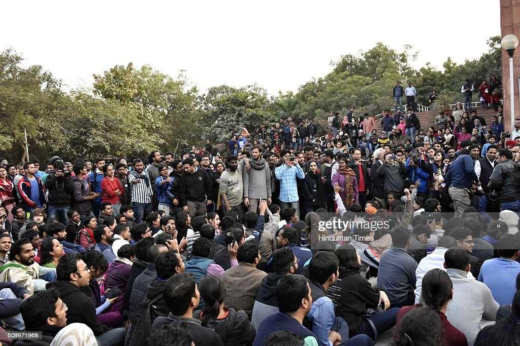 Students protesting over the release of JNU Student's Union president Kanhaiya Kumar at Jawaharlal Nehru University, on February 13, 2016 in New Delhi, India. Congress Vice President Rahul Gandhi slammed the Centre and said it is terrified of people who are raising their voices. He said, the most anti-national people are the people who are suppressing the voice of this institution. JNU Student's Union president Kanhaiya Kumar was arrested in connection with a case of sedition, seven more students from the university have been detained after a controversial event to protest the hanging of 2001 Parliament attack convict Afzal Guru three years ago. The protesters also allegedly shouted anti-India slogans during the event.