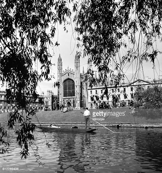Students punt along the 'The Backs' on the Cam River Cambridge seen here passing Kings College June 1952 C3068