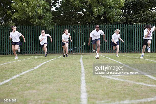 Students racing in P.E. class