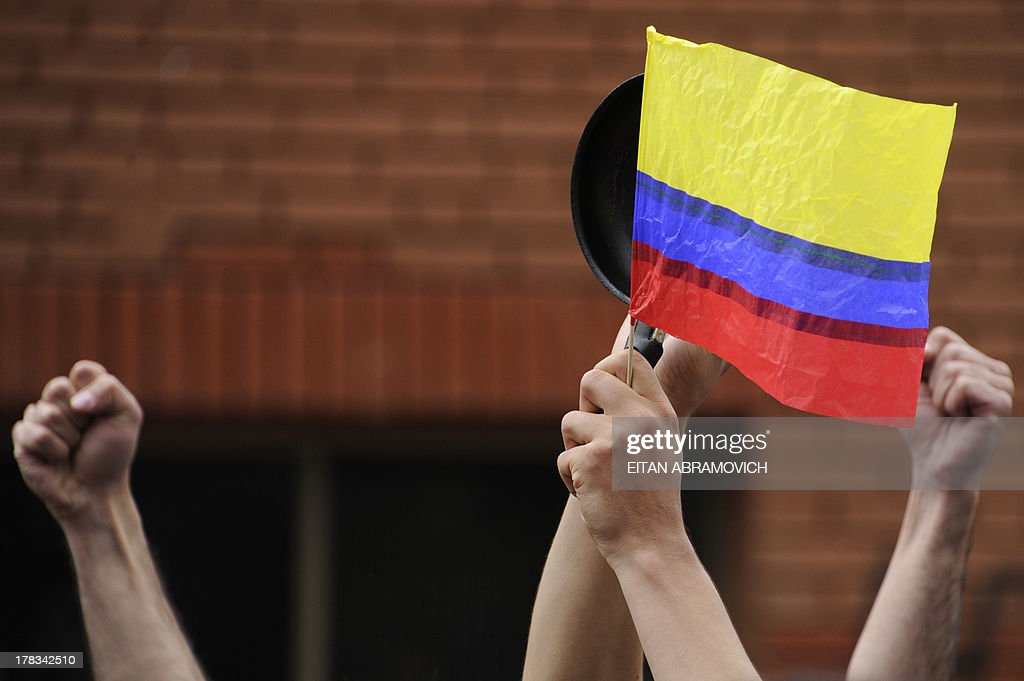 Students raise their clenched fists during a march in Bogota, Colombia, on August 29, 2013, in support of Colombian farmers on strike in demand of government subsidies and greater access to land. AFP PHOTO/Eitan Abramovich