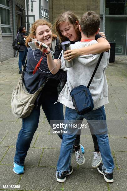 Students react as they receive their A level results at City and Islington College on August 17 2017 in London England The number of students...