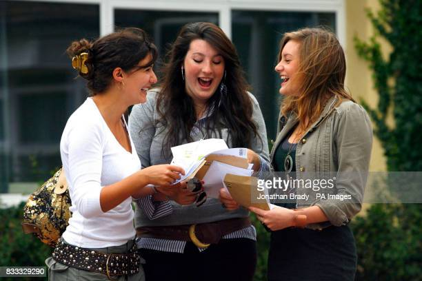 Students receive their GCSE results at Kings' School in Winchester Hampshire