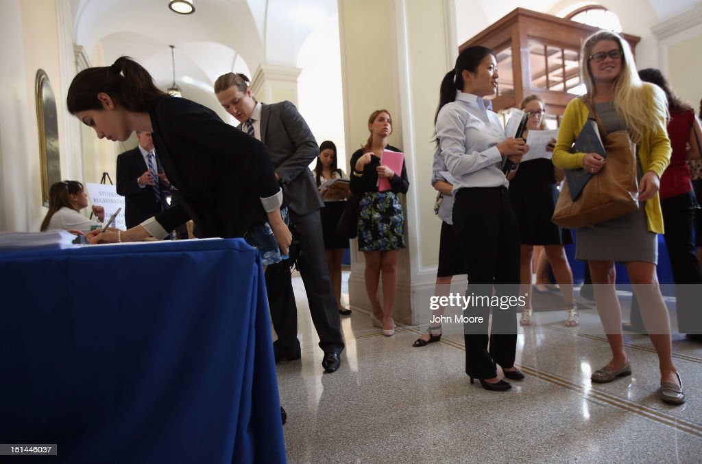 Students register at the Barnard College Career Fair on September 7, 2012 in New York City. Barnard, which is the undergraduate women's college of Columbia University, hosted the job and internship fair with nearly 100 companies and organizations meeting with hundreds of Barnard and Columbia students looking for work.