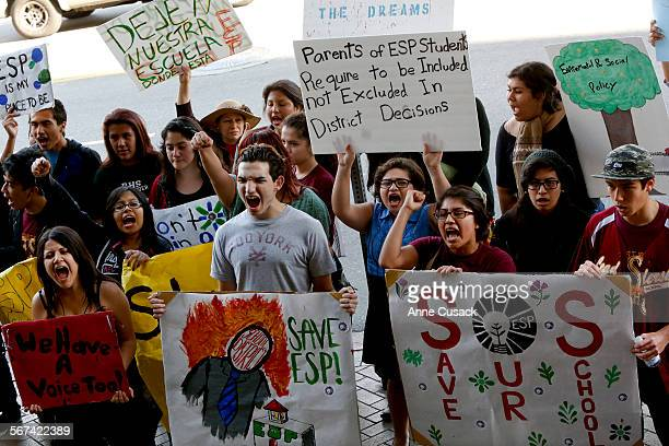 Students shout in front of LAUSD to protest the possible closure of the Environmental and Social Policy school which is a small school and part of...