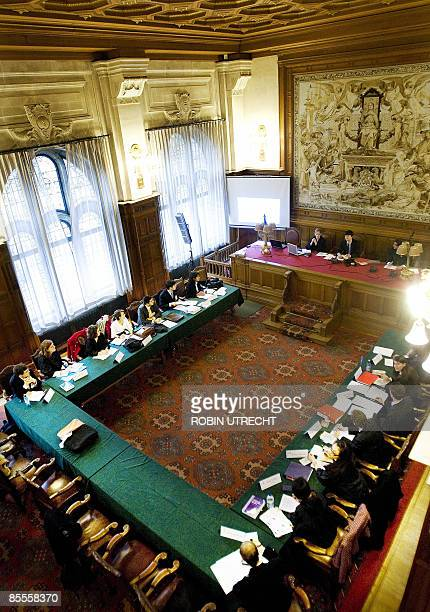 Students simulate a session of the International Court of Justice atthe Peace Palace on the first day of the Harvard World Model United Nations World...