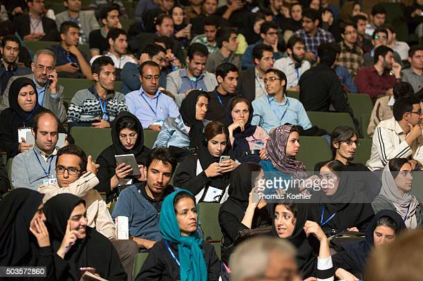 Students sitting in a lecture hall at Tehran University on October 18 2015 in Tehran Iran