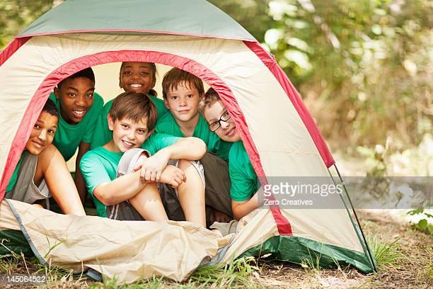 学生ラウンジでキャンプテント