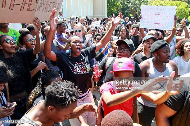 Students stage protest against increase of tuition fees at Cape Town University in Johannesburg South Africa on October 19 2015 Demonstrations...
