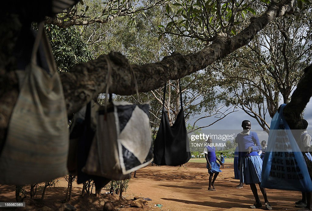 Students stand outside their classes during recess on November 5, 2012 at the Obama-Kogelo primary school in the western Kenyan hamlet of Kogelo a day before US elections. US President Barack Obama's father was born in Kogelo. Tony KARUMBA