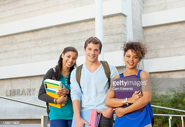 Students standing together outdoors