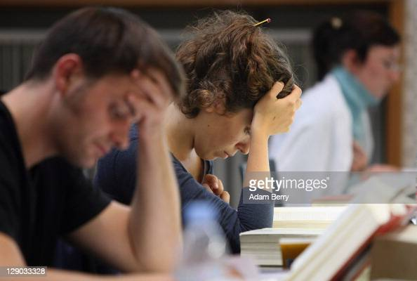Students study legal texts in the law faculty library at Humboldt University prior to the beginning of the winter semester on October 11 2011 in...