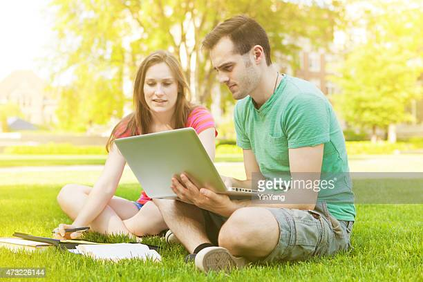 Students Studying Outdoor on College Campus Horizontal