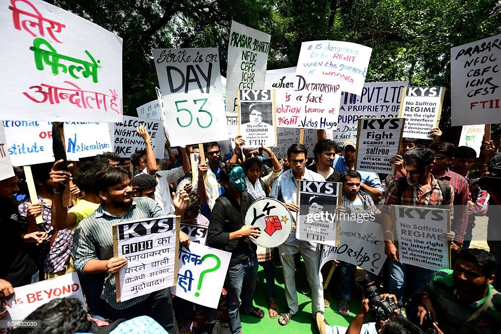 FTII students supported by other student unions protested at Jantar Mantar against Gajendra Singhs appoinment on August 3, 2015 in New Delhi, India.