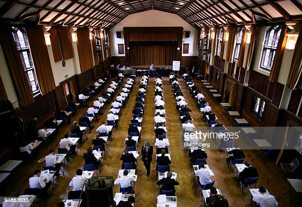GCSE students take an exam at Maidstone Grammar School in Kent UK on Wednesday June 4 2008 Maths exam standards have declined significantly over the...