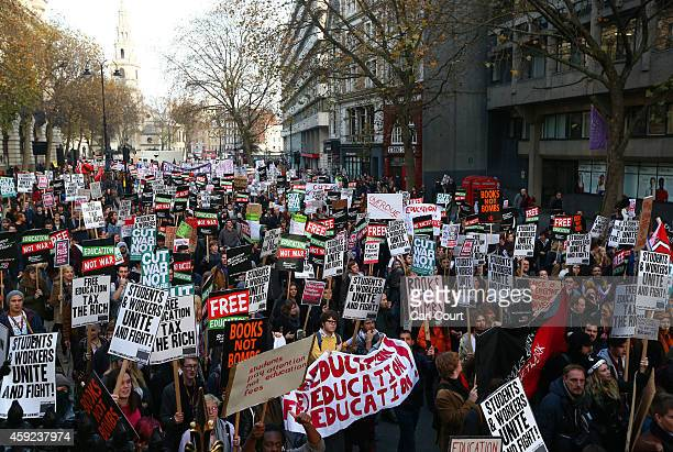 Students take part in a protest march against fees and cuts in the education system on November 19 2014 in London England A coalition of student...