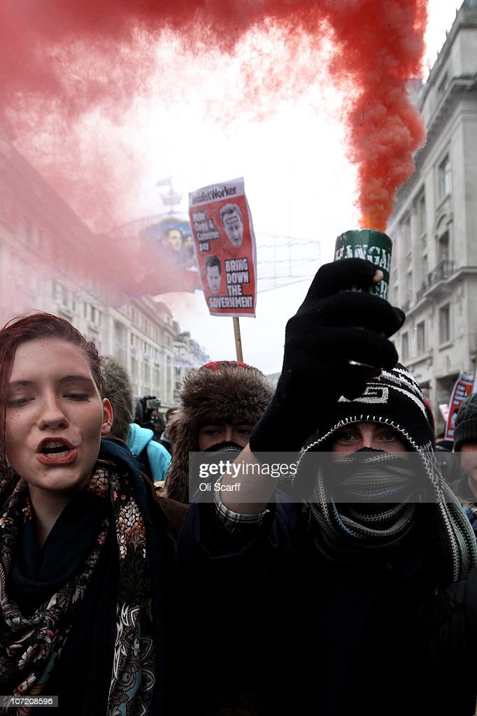 Students take part in a protest over the Government's budget cuts and proposed rise in tuition fees on November 30, 2010 in London, England. Hundreds of students evaded police containment tactics and marched throughout Westminster and the City of London from Trafalgar Square in the third major protest of its kind in London in as many weeks.