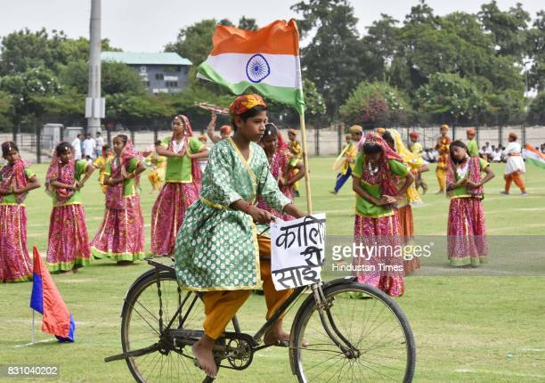 Students take part in full dress rehearsal for the upcoming Independence Day celebrations at Tau Devi Lal Stadium on August 13 2017 in Gurgaon India