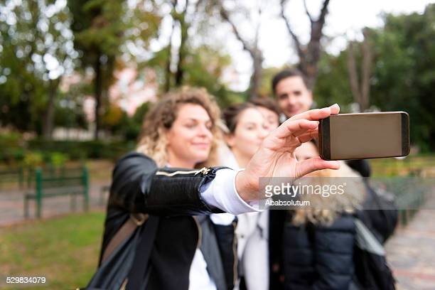 Students Taking Selfie with Smart Phone, Istanbul University, Turkey