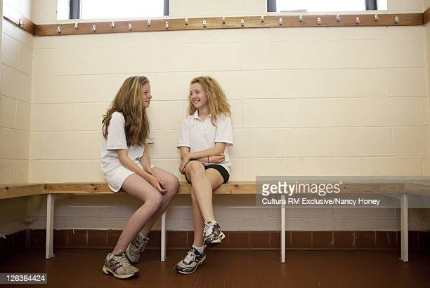 Students talking in locker room