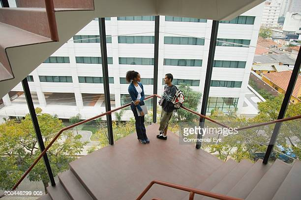 Students talking on staircase landing, elevated view