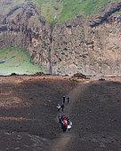 Students touring Eldfell Volcano, Heimaey, Westman Islands, Iceland