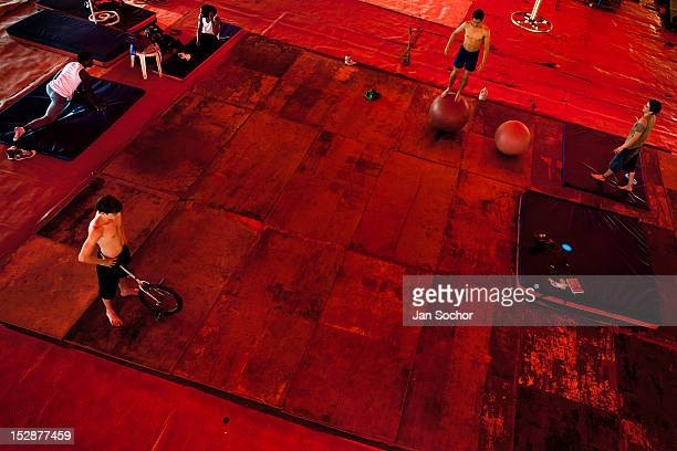 Students train and exercise during the lessons in the circus school Circo para Todos 29 May 2012 in Cali Colombia Circo Para Todos founded by...