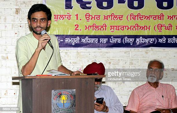 Students' Union leader Umar Khalid addresses the gathering during a Convention organized by the Shaheed Bhagat Singh Vichar Manch at Punjabi Bhawan...