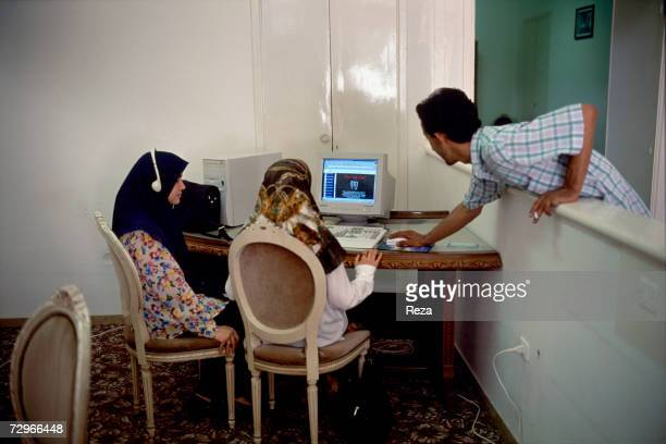 Students use the internet in a cybercaf on March 2000 in Tripoli Libya