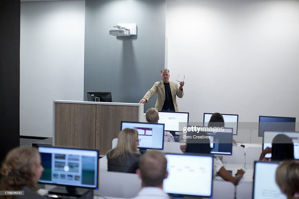 Students using computers in lecture