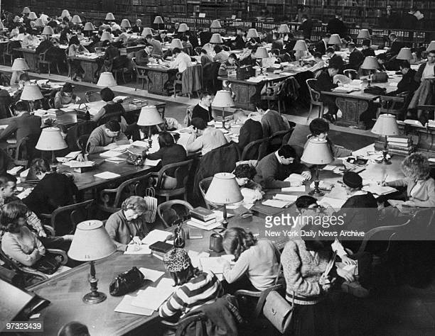 Students using the Main Reading Room at the New York Public Library during the holidays