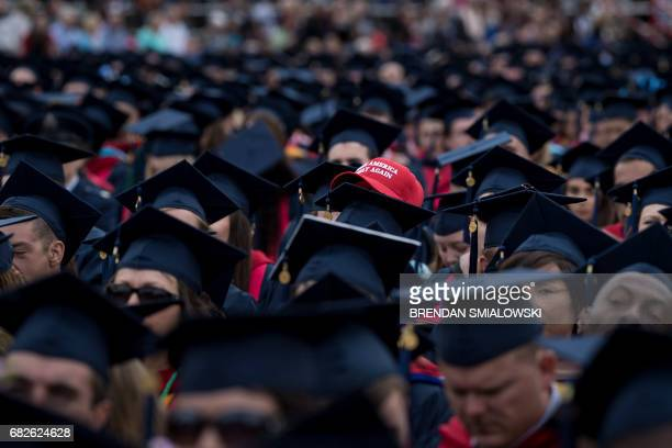 Students wait to hear US President Donald Trump speak during Liberty University's commencement ceremony May 13 2017 in Lynchburg Virginia / AFP PHOTO...