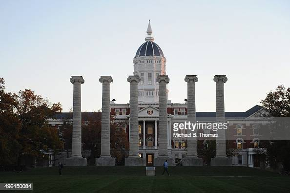Students walk about on the campus of University of Missouri Columbia on November 9 2015 in Columbia Missouri University of Missouri System President...