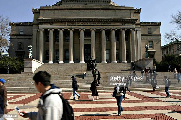 Students walk across the campus of Columbia University in New York Wednesday April 11 2007 The University said John W Kluge former chairman of...