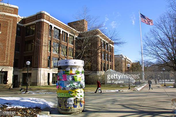 Students walk across the University of Michigan campus January 17 2003 in Ann Arbor Michigan The university's admissions policy is the subject of a...