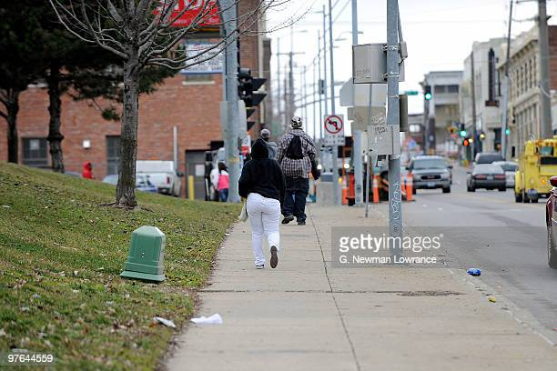 Students walk down the street after leaving Westport High School on March 11 2010 in Kansas City Missouri The High School is among 29 in a district...