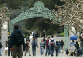 Students walk near Sather Gate on the University of California at Berkeley campus February 24 2005 in Berkeley California The City of Berkeley is...