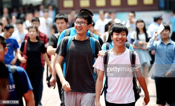 Students walk out of exam room after the first test of national college entrance examination on June 7 2017 in Luoyang Henan Province of China Over 9...